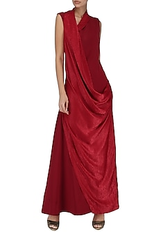 Deep Red Cowl Drape Maxi Dress by Suman Nathwani