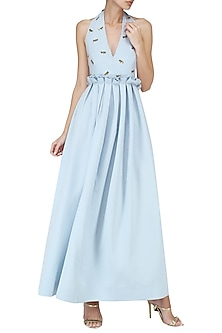 Ice Blue Embroidered Halter Maxi Dress by Suman Nathwani