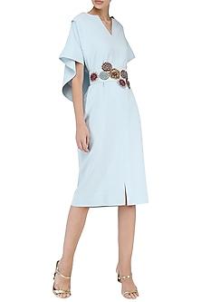 Ice Blue Embroidered Drape Knee Length Dress by Suman Nathwani