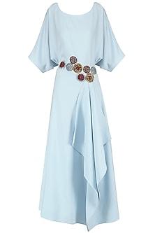 Ice Blue Embroidered Drape Maxi Dress by Suman Nathwani