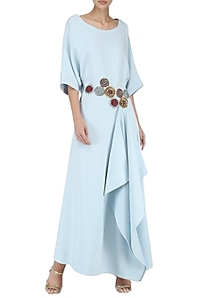 Ice Blue Embroidered Drape Maxi Dress by Suman Nathwani