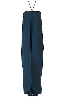 Navy Blue Tie Up Halter Jumpsuit by Suman Nathwani