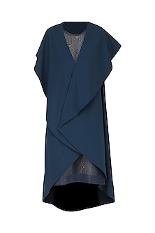 Navy Blue Embroidered Drape Dress by Suman Nathwani