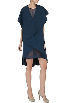Navy Blue Embroidered Drape Dress by Suman Nathwani