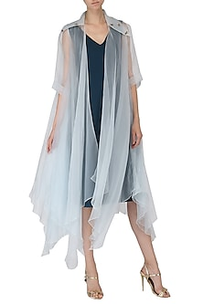 Navy Blue Knee Length Dress with Ice Blue Embroidered Drape Jacket by Suman Nathwani