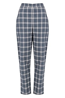Blue and White Checked Trousers by Suman Nathwani