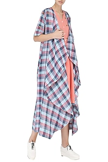 Blue and Pink Checked Drape Jacket by Suman Nathwani
