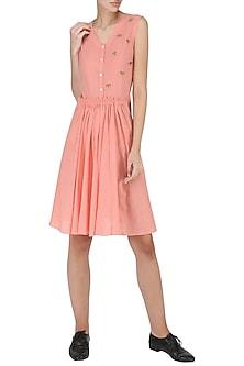 Rose Pink Knee Length Embroidered Dress by Suman Nathwani