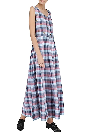 Blue and Pink Embroidered Checked Maxi Dress by Suman Nathwani