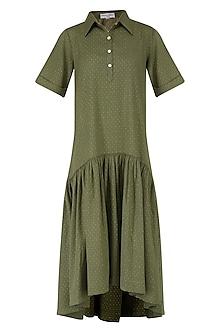 Olive Green Asymmetrical Shirt Dress by Suman Nathwani