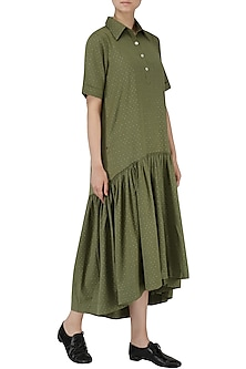 Olive Green Asymmetrical Shirt Dress by Suman Nathwani