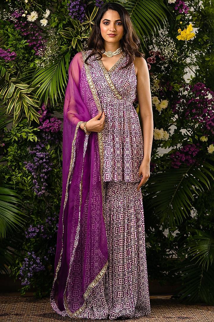 Purple Printed Sharara Set by Sobariko
