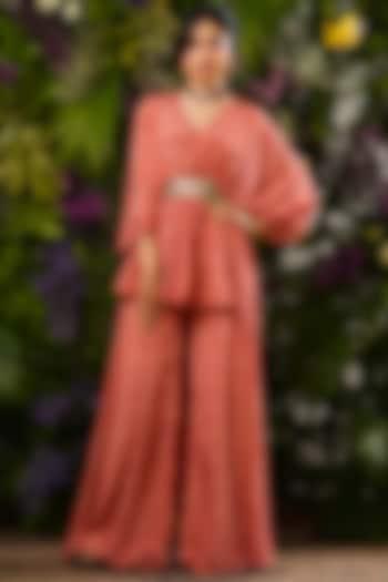 Red Printed Asymmetrical Tunic Set by Sobariko