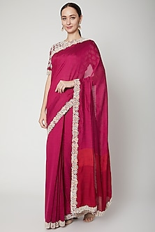 Fuchsia Handwoven Embroidered Saree Set by SoumodeepDutta-SHOP BY STYLE