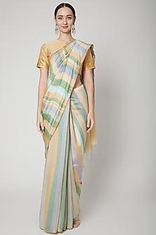 Multi Colored Vertical Striped Saree Set by SoumodeepDutta