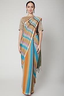 Multi Colored Striped Silk Saree Set by SoumodeepDutta