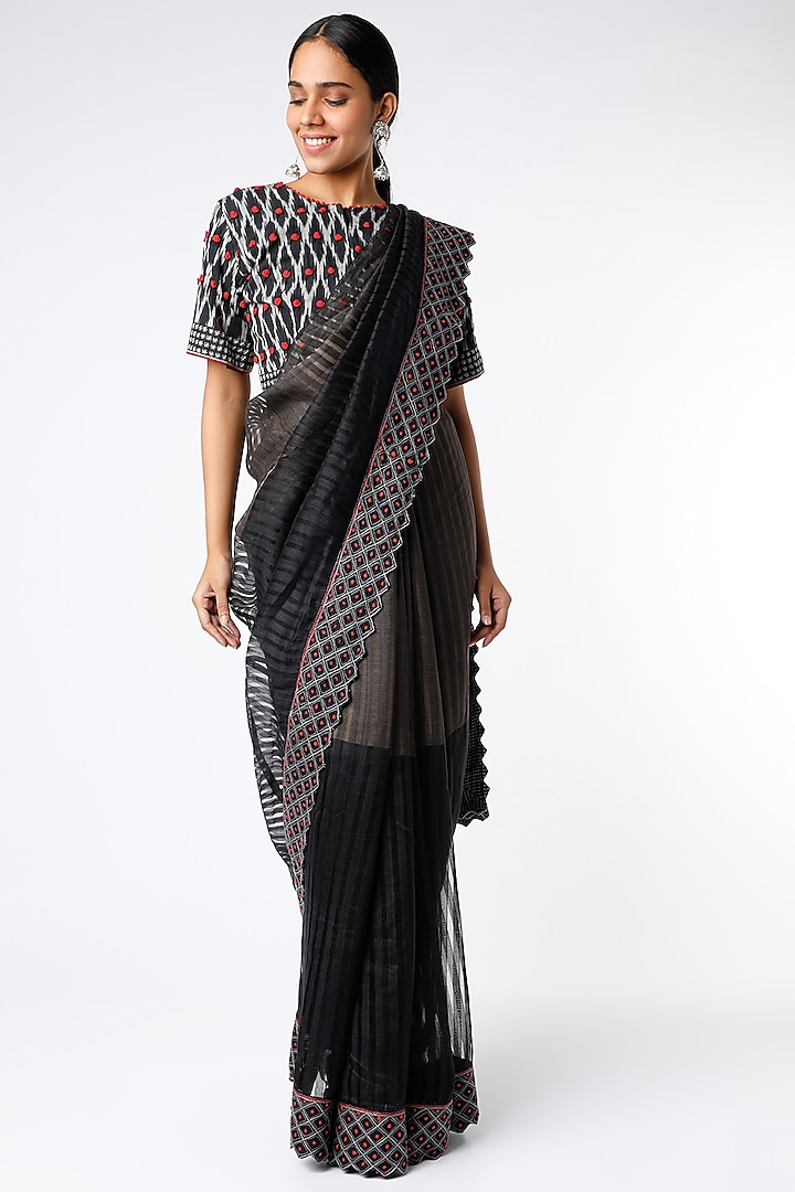 Black Rose Hand Embroidered Saree Set by Soumodeep Dutta