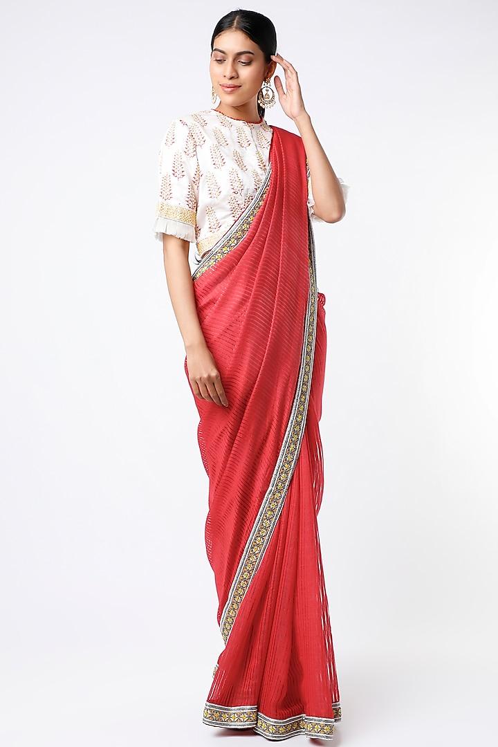Red Hand Embroidered Saree Set by Soumodeep Dutta