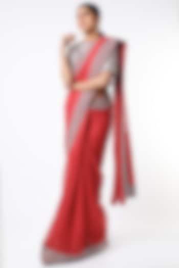 Red Handloom Saree Set by Soumodeep Dutta