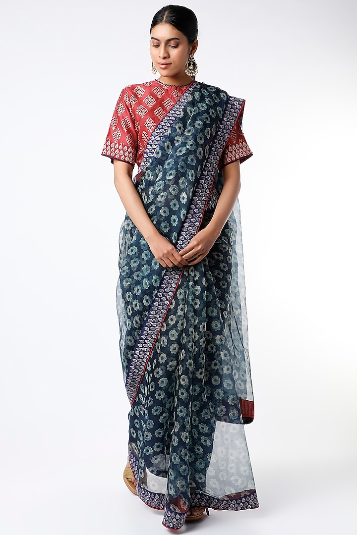 Indigo Floral Hand Block Printed Saree Set by Soumodeep Dutta