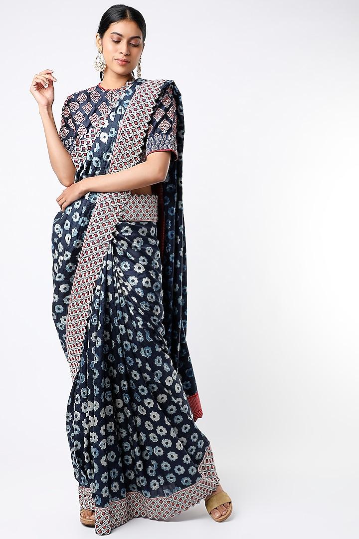 Indigo Hand Block Printed Silk Saree Set by Soumodeep Dutta