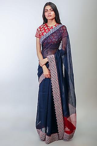Indigo Embroidered Saree Set by Soumodeep Dutta