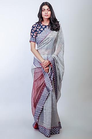Grey Embroidered Saree Set by Soumodeep Dutta