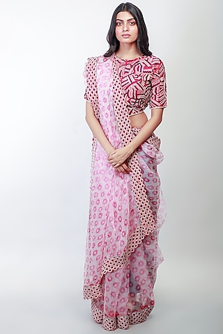 Fuchsia Floral Printed Saree Set by Soumodeep Dutta