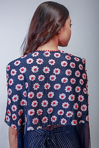 Indigo Blue Embroidered Skirt Set With Cape by Soumodeep Dutta