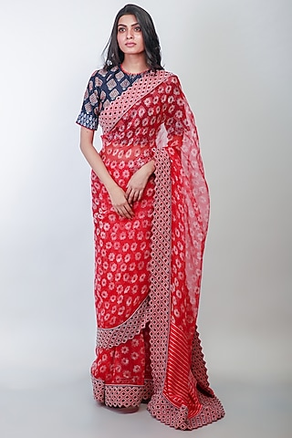 Red Floral Printed Saree Set by Soumodeep Dutta