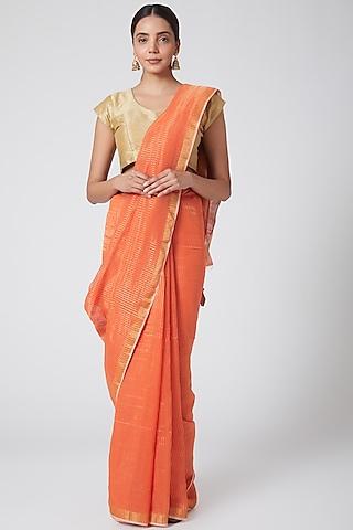 Orange & Gold Striped Saree by SoumodeepDutta