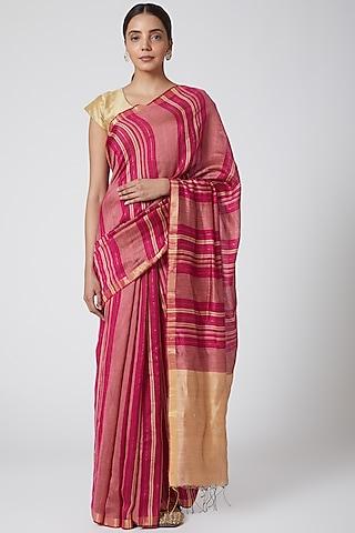 Fuchsia Pink & Beige Striped Saree by SoumodeepDutta