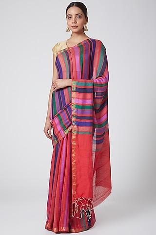 Multi Colored Hanwoven Silk Saree by SoumodeepDutta