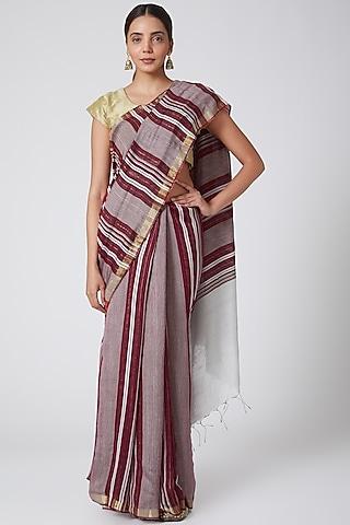 Maroon & Gold Printed Saree Set by SoumodeepDutta