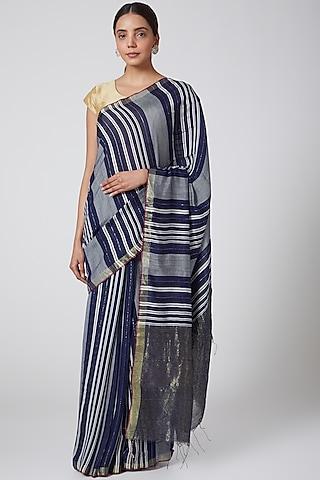 Indigo Blue & Grey Striped Saree by SoumodeepDutta