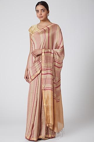 Beige & Gold Printed Saree Set by SoumodeepDutta