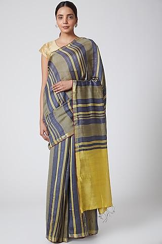Grey & Mustard Striped Handwoven Silk Saree by SoumodeepDutta