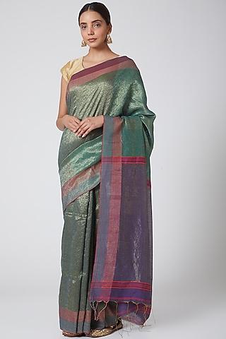 Green & Gold Embroidered Saree Set by SoumodeepDutta
