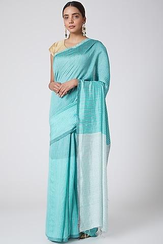 Sea Green Handwoven Silk Saree by SoumodeepDutta