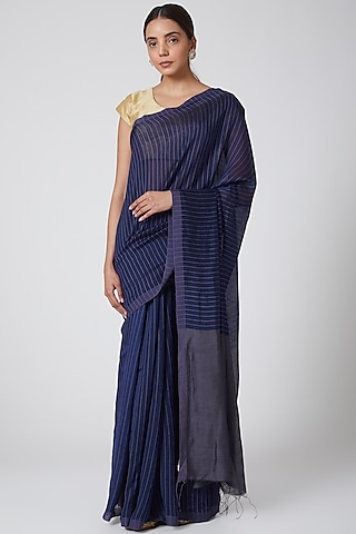 Indigo Blue & Grey Handwoven Silk Saree by SoumodeepDutta