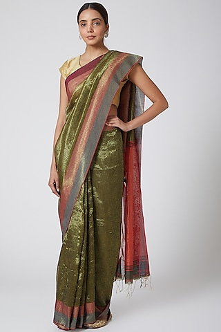 Olive Green & Gold Printed Saree Set by SoumodeepDutta