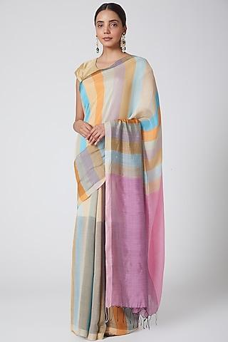 Multi Colored Handwoven Silk Saree  by SoumodeepDutta