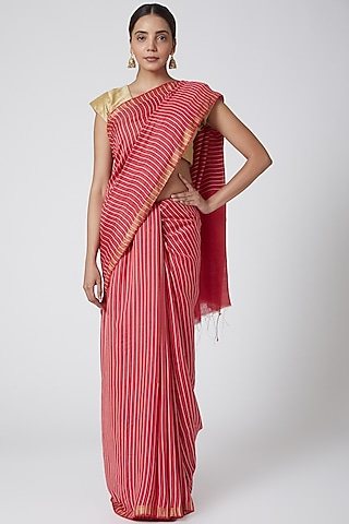 Red & Gold Printed Saree Set by SoumodeepDutta