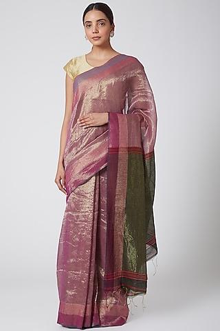 Purple & Gold Embroidered Saree Set by SoumodeepDutta