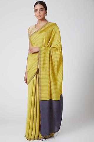 Mustard & Gold Printed Saree Set by SoumodeepDutta