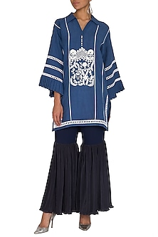 Blue Embroidered Kurta With Sharara Pants by Sonali Gupta