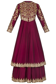 Maroon Embroidered Anarkali With Skirt by Sonali Gupta