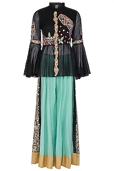 Black Dabka Embroidered Peplum Top With Sharara Pants by Sonali Gupta