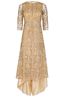Golden Embroidered Jacket With Dhoti Pants by Sonali Gupta