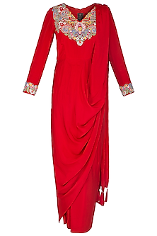 Red Embroidered Pre-Stitched Saree by Sonali Gupta